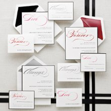 Always-Forever-Love - Synonymous with your wedding vows—always, forever, love—each word flows across the top of the wedding invitation, response card and reception card in shimmering script. Exclusively Weddings suggests a mix-and match layout for a custom presentation. This large, square invitation card is bordered with a touch of black. Order Your Free Sample Today!