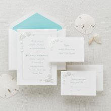 Sea Treasures - This Exclusively Weddings invitation has a subtle border of pearlized seashells on bright white paper. It will add a unique touch to your beach or summer theme wedding. Order Your Free Sample Today!