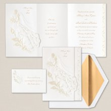 First Dance - This romantic embracing couple shows your true love for each other. This bright white tri-fold invitation allows you to include a special verse in the center panel with your names printed on the front cover. Exclusively Weddings offers accent colors in wine and pearl. Order Your Free Sample Today!