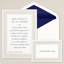 Luminous Border - A luminous lattice border adds interest to this classic non-folding bright white card from Exclusively Weddings. Order Your Free Sample Today!