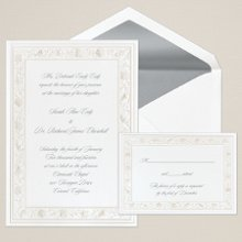 Gathering Sea Shells - An embossed border of seashells wraps around the edges of this bright white card to create a stunning invitation. Exclusively Weddings offers accent colors in your choice of pearl, taupe or turquoise. Order Your Free Sample Today!