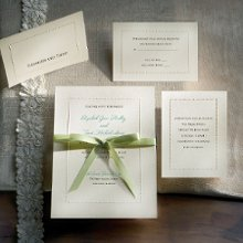 "Manhattan - A perfect combination of both elegance and romance, this invitation from Exclusively Weddings features a string of tiny embossed ""pearls"" that showcases your invitation wording. This is a complete invitation ensemble, including thank you cards. Order Your Free Sample Today!"