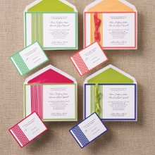 Striped Sensation - Clean, colorful and creative, these fresh invitations are sure to catch the eye. Part of the Young American Bride Collection from Exclusively Weddings. Available in 4 color combinations: Lucite Green/Dark Citron, Dark Citron/Hot Pink, Salmon Rose/Orange Cream, and Palace Blue/Dark Citron. Order Your Free Sample Today!