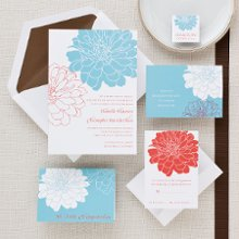Passionate Peony - Big, bold peonies leap off the front of this striking wedding invitation. Exclusively Weddings offers four bold color combinations, letting the fashion forward bride make an unforgettable first impression: aqua and crimson, kiwi and poppy, marigold and slate gray and blush and burgundy. Exclusive. Order Your Free Sample Today!