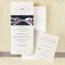 Paris Bride - A chic band of deep metallic color highlights the creamy pearlized paper stock for this sleek wedding invitation. This wedding invitation is part of the Uptown Bride collection from Exclusively Weddings, full of sophistication and style. Available in Pearlized Latte and Pearlized White. Order Your Free Sample Today!
