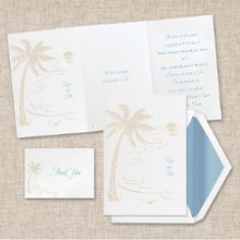Tropical Sunset - A tropical beach scene in pearl is featured on this tri-fold invitation from Exclusively Weddings. It's perfect for a summertime celebration or a destination wedding. There's room on the center panel for a verse and bride's and groom's names on the front. Order Your Free Sample Today!