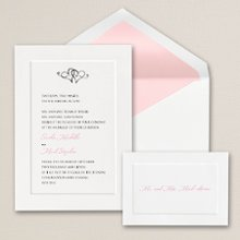 Classic Style - A simply refined and traditional wedding invitation design in a classic folding card with panel design. Exclusively Weddings offers this elegant invitation in a choice of bright white or traditional white. Order Your Free Sample Today!