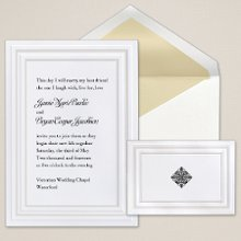 Sophisticated Style - A double panel with pearlized trim frames your wording on this elegant non-folding card from Exclusively Weddings. Order Your Free Sample Today!