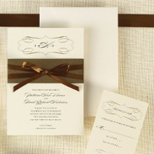 Milan Bride- A chic band of deep metallic color highlights the creamy pearlized paper stock. This sleek wedding invitation is part of the Uptown Bride collection from Exclusively Weddings, full of sophistication and style. Available in Pearlized Latte and Pearlized White. Order Your Free Sample Today!