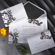 Venice - Beloved for centuries as a symbol of creativity and longevity, the graceful acanthus is quite naturally an ideal way to invite your loved ones to share your special day. The timeless icon, however, becomes suddenly trend-setting when rendered in dramatic black or breezy sky blue. Designed by Exclusively Weddings. Order Your Free Sample Today!