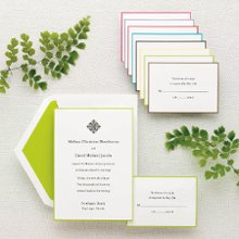 Simply Colorful - Traditional with a colorful twist, this heavy bright white card stock is subtly trimmed in one of eight popular wedding colors. Add a motif or monogram for extra flair. Exclusively Weddings offers matching thank you note cards for that complete, colorful look. Order your Free Sample Today!