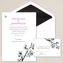 Cherry Blossoms - Such a beautifully minimalist design, this distinctive wedding invitation, designed by Exclusively Weddings, has an almost Zen-like serenity and grace. The intricately drawn cherry blossoms, symbols of a bright future, are foil stamped in black foil for a lustrous look. Order Your Free Sample Today!