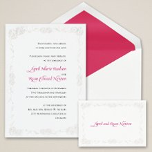 Pearl Daisies - From Exclusively Weddings, this non-folding bright white card is a pretty way to showcase your invitation wording. Order Your Free Sample Today!