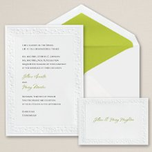 Delicate Flowers - A charming embossed floral border accentuates this non-folding, bright white card from Exclusively Weddings. Order Your Free Sample Today!