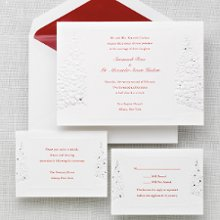 Winter's Romance - Herald your holiday or winter wedding with this exquisite fold-over invitation adorned with a winter's theme motif accented in shimmery silver. Order Your Free Sample Today!