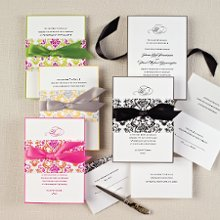 Delightfully Damask- Make a striking statement with our exclusive Delightfully Damask wedding invitation that combines bold hues with a beautifully intricate damask pattern. Everything you need is in this all-inclusive invitation kit. Exclusively Weddings offers this design in 4 accent color choices. Order Your Free Sample Today!
