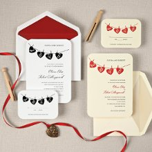 Hung Up on Love - The perfect match for your retro-chic style, each letter in the word love hangs with its own clothespin on a cute heart-shaped flag above your wedding invitation wording. Matching thank you note cards are available. Order Your Free Sample Today!