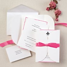 Tied in Love - This all-inclusive wedding invitation ensemble has everything you need: invitation, reception card, response card and pre-cut satin ribbon. Available in your choice of 8 accent colors. Order Your Free Sample Today!
