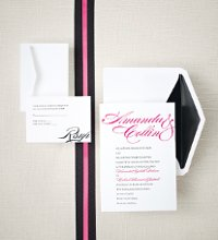 Sophisticated Script - Your names are presented in a fluid script-style font across the top of this lovely invite. Coordinating thank you notes and save the date announcements are available to complete your wedding stationery look. Order Your Free Sample Today!