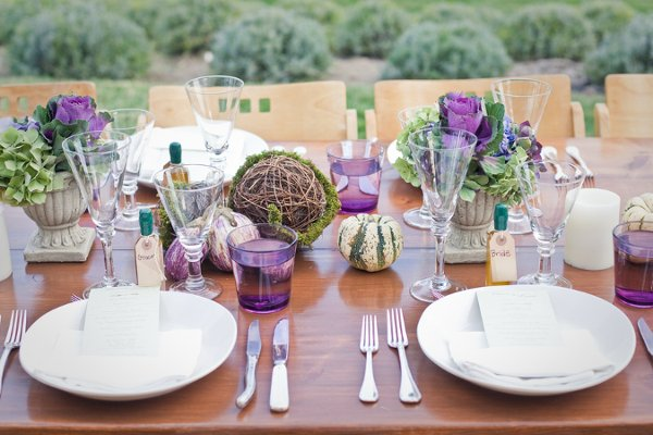 Rustic shabby chic green purple centerpiece centerpieces