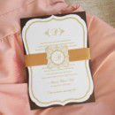 130x130 sq 1421870878441 gold monogram wedding invitation with ribbon