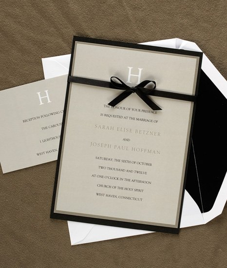 Attractive Initial Wedding Invitations AV1209 This Taupe Bordered Invitation  Features Your New Last Name Initial At