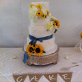 130x130 sq 1449567164611 lace and sundlower cake