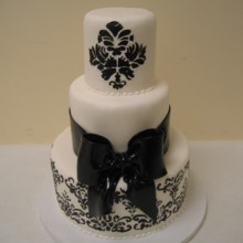 220x220 sq 1449566917115 black and white damask cake