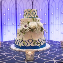 220x220 sq 1449566946930 blue and white cake