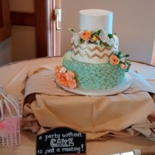 220x220 sq 1449567187396 mint and gold chevron cake