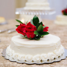 220x220 sq 1422647623293 white cake with roses