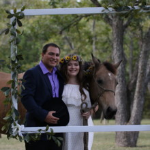 220x220 sq 1511028305841 couple with horse in picture frame