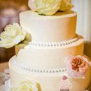 Simple, Elegant Cake with Pearl Borders and Fresh Flowers
