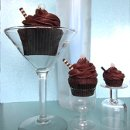 Top Shelf Chocolate Martini cupcakes made with a Grey Goose vodka ganache center and Vanilla Stoli.