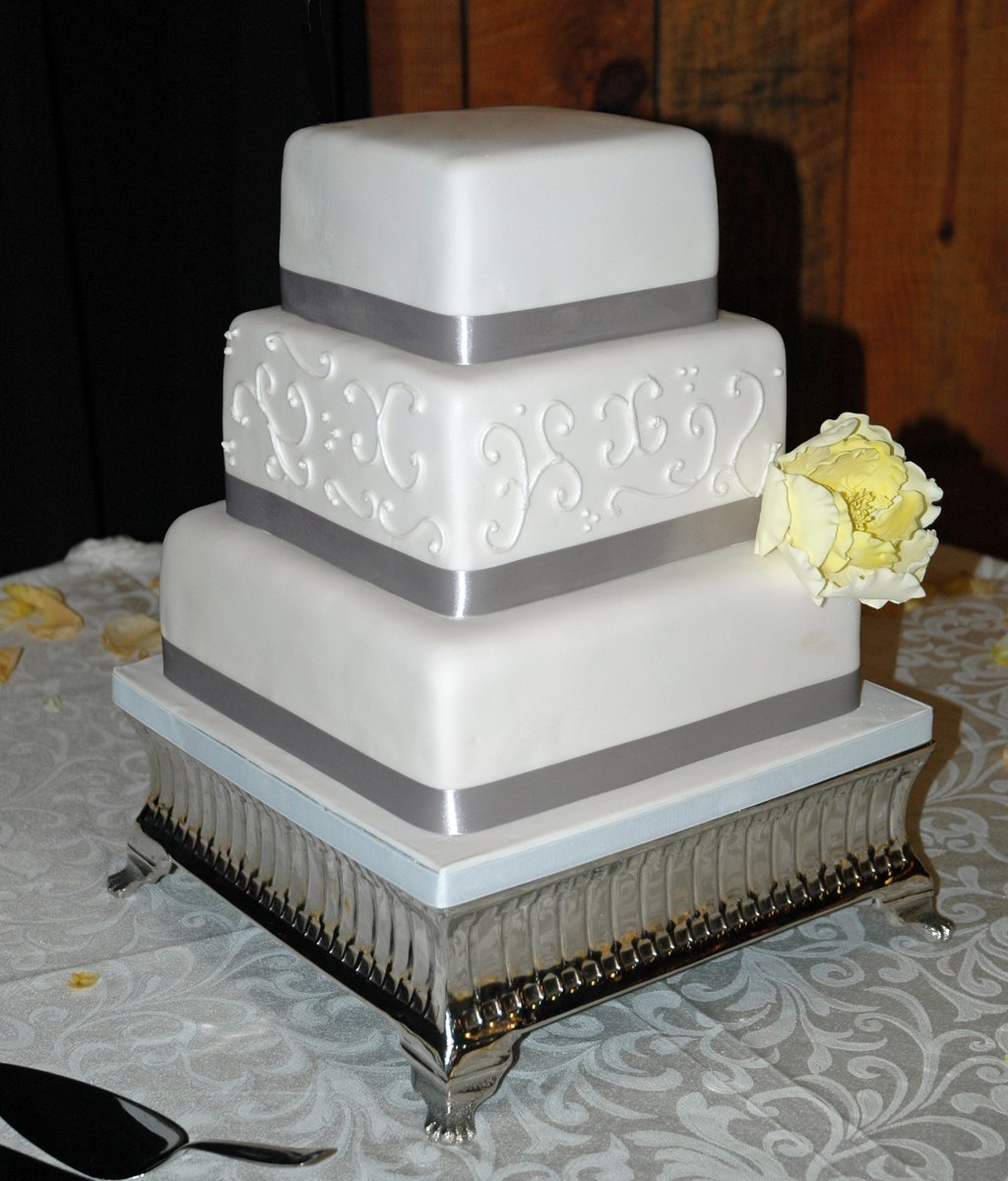 white and silver square wedding cakes classic formal modern gray silver white yellow 27225