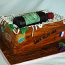 Wine bottle in crate Groom's cake for the wine lover. All edible.