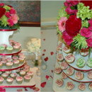 Burgundy rose swirl cupcakes, with two distinctive lime green rose swirl cupcakes for the Bride and Groom, taking the place of a cutting cake.