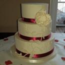 130x130 sq 1421262679665 gold edged peony and vines wedding cake