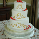 130x130 sq 1421262739706 gold scroll and red berries winter wedding cake