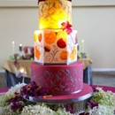 130x130 sq 1421262753617 handpainted gold and burgundy wedding cake