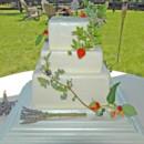 130x130 sq 1421262804661 honeycomb texture square wedding cake with fresh f