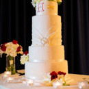 130x130 sq 1421262961409 monogram and sash wedding cake