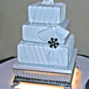 130x130 sq 1421263277266 square tuxedo pleats and bow wedding cake