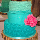 130x130 sq 1421263300654 teal buttercream rosettes and ruffles wedding cake