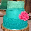 130x130 sq 1421263300654 teal buttercream rosettes and ruffles wedding cake