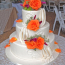 130x130 sq 1449603028947 fondant draping and fresh flowers wedding cake