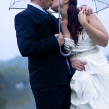 220x220 sq 1455404862258 bride groom kiss under umbrella lake lure