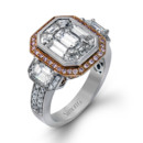 Style LP2061  18K white and rose gold ring comprised of 0.30ctw round white diamonds, 0.18ctw round pink diamonds, 0.77ctw emerlad cut diamonds, and 2.00ctw mosaic diamodns.