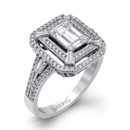 Style LP2259  18K white gold ring comprised of 0.39ctw round white diamonds and 0.64ctw baguette diamonds.