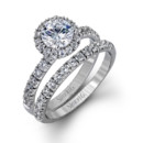Style MR1811  18K white gold set comprised of 0.80ctw round white diamonds.